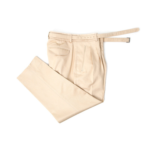 Men's Ivory Belted Cotton Pants