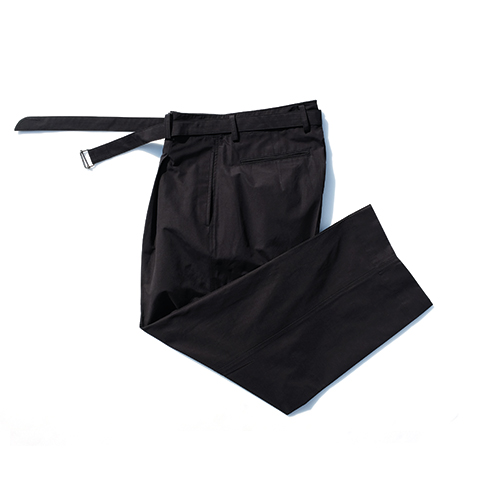 Black Wide Dropped Belted Pants