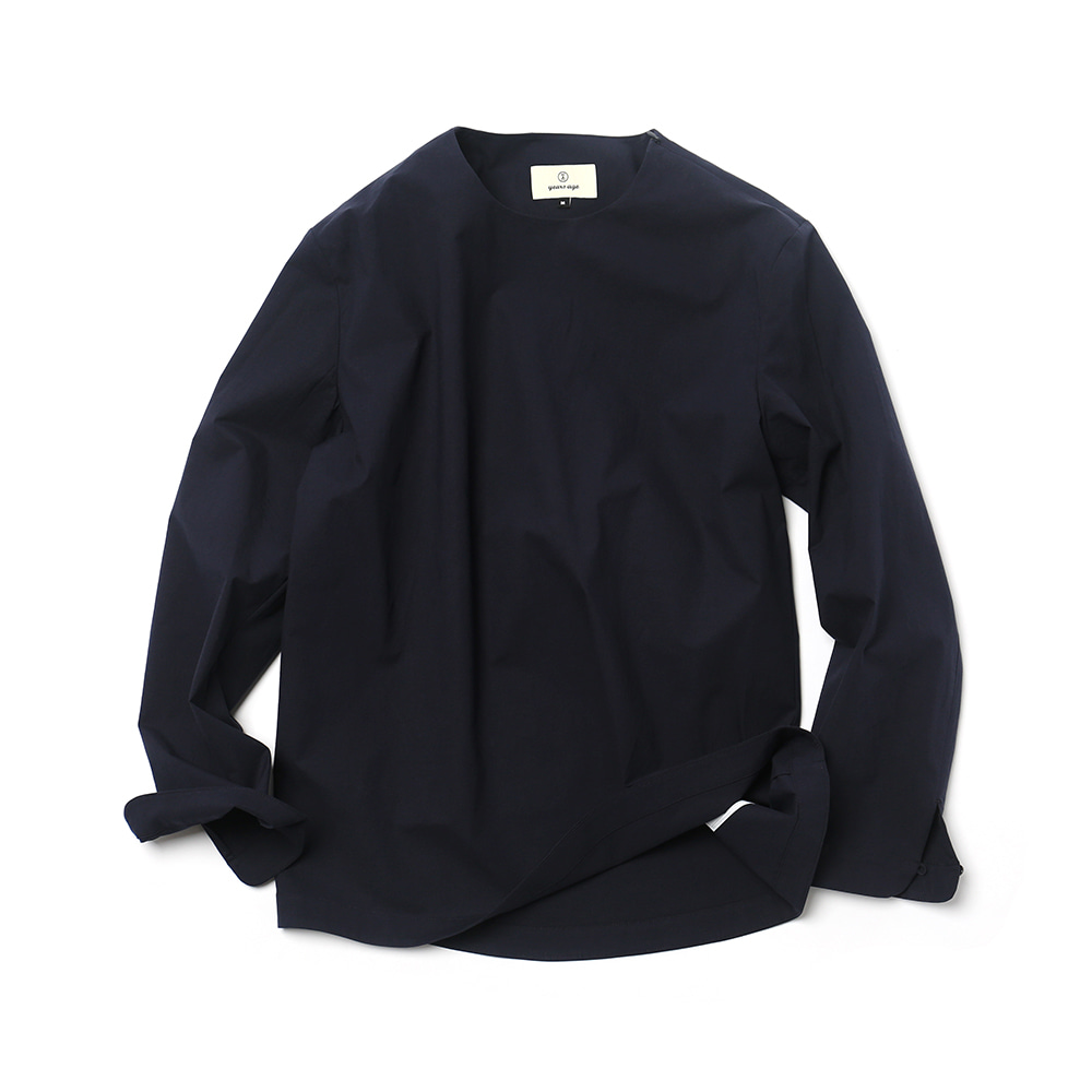 Dark Navy Easygoing Long Woven Shirts 02