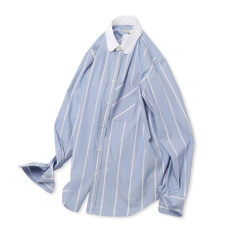 (PRE-ORDER)Blue Stripe Cleric Butterfly Collar Shirts 02