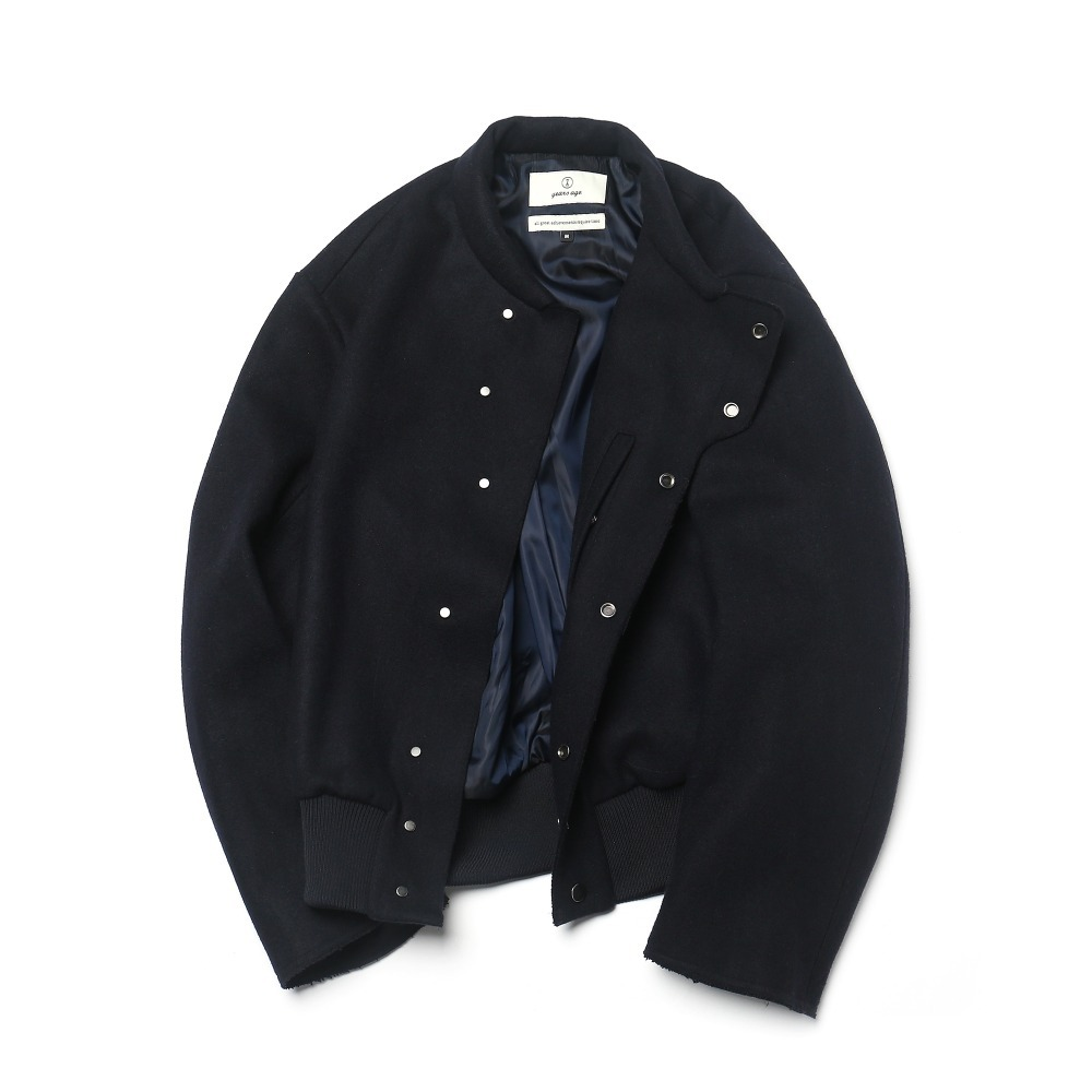 "19"" Dark Navy Melton Wool Baseball Blouson 01-2"