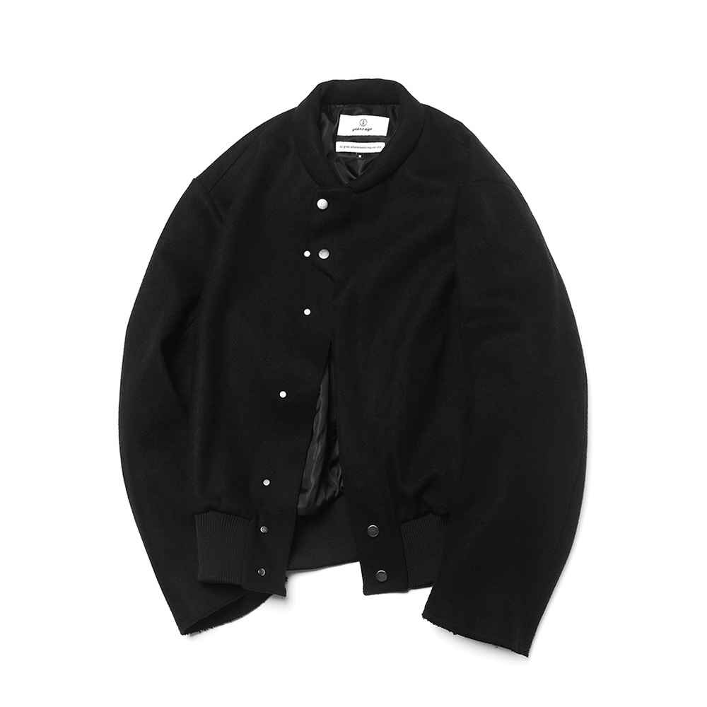 Black 28oz Melton Wool Baseball Blouson