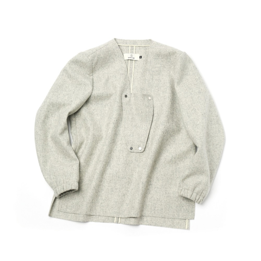 Pale Grey Detouchable V Neck Pull Over