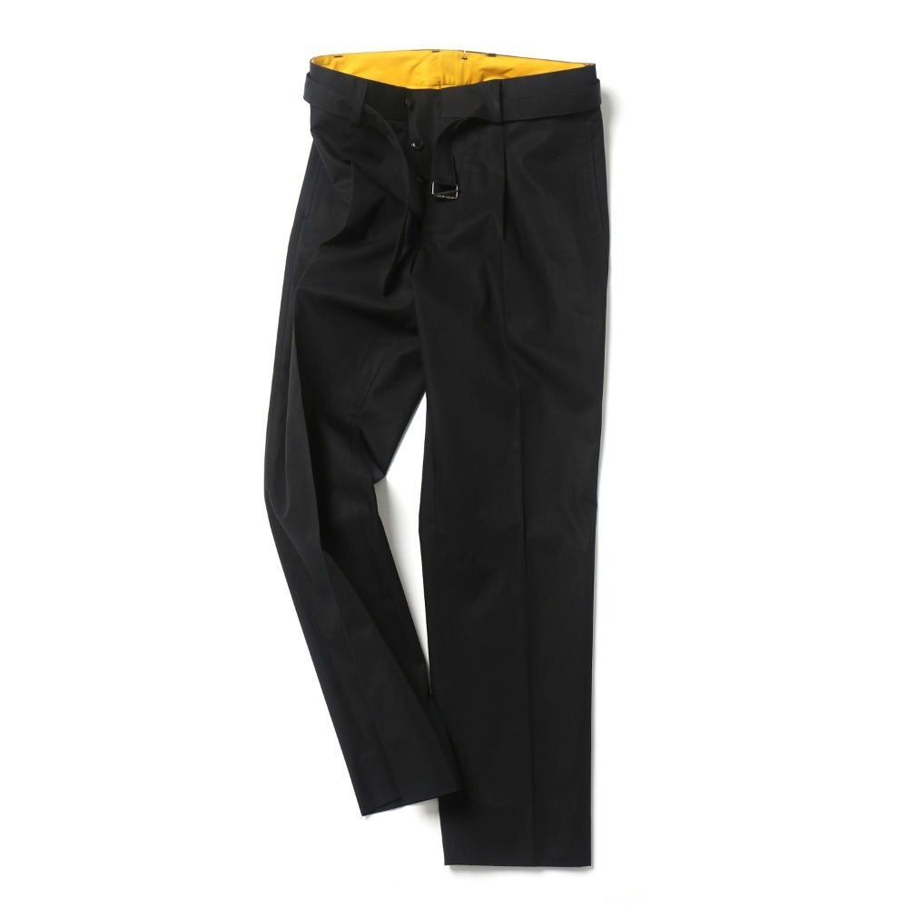 Black Cotton Belted Pants 03