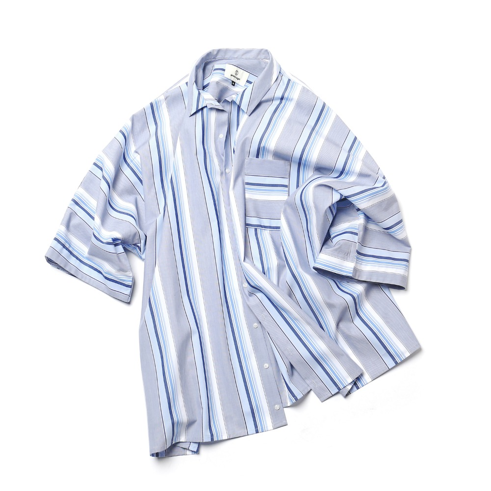 (2nd pre-order) Blue Stripe Coverable Shirts 02