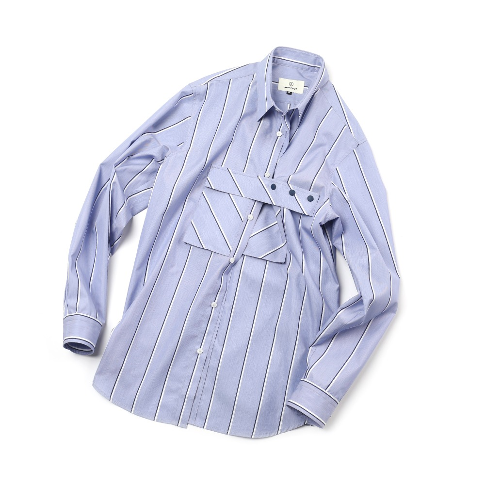 Blue Stripe Detachable Cover Pocket Shirts