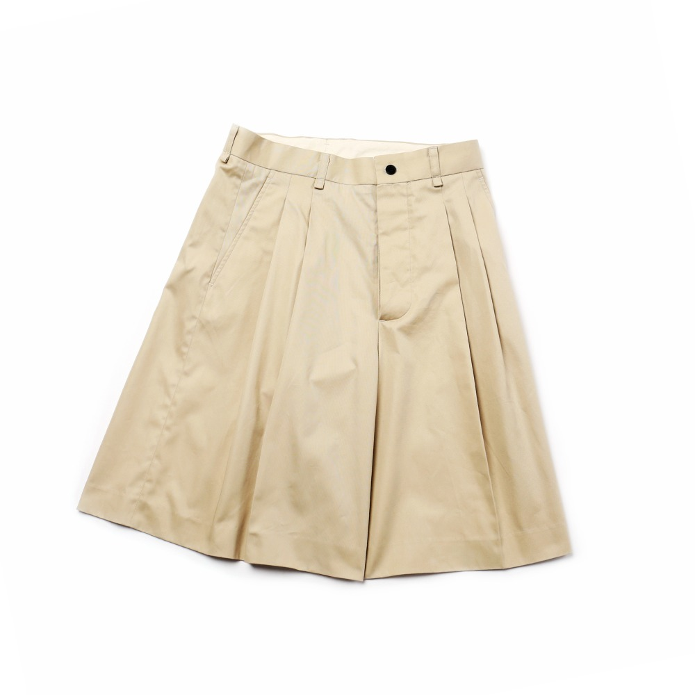 Beige Cotton Wide Shorts