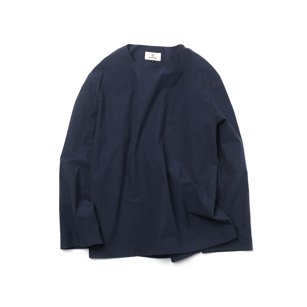 Navy Easygoing Long Woven Shirts 03