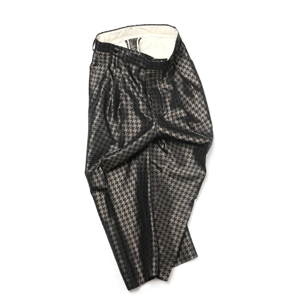 brown pixel houndstooth two-tuck loose tapered pants