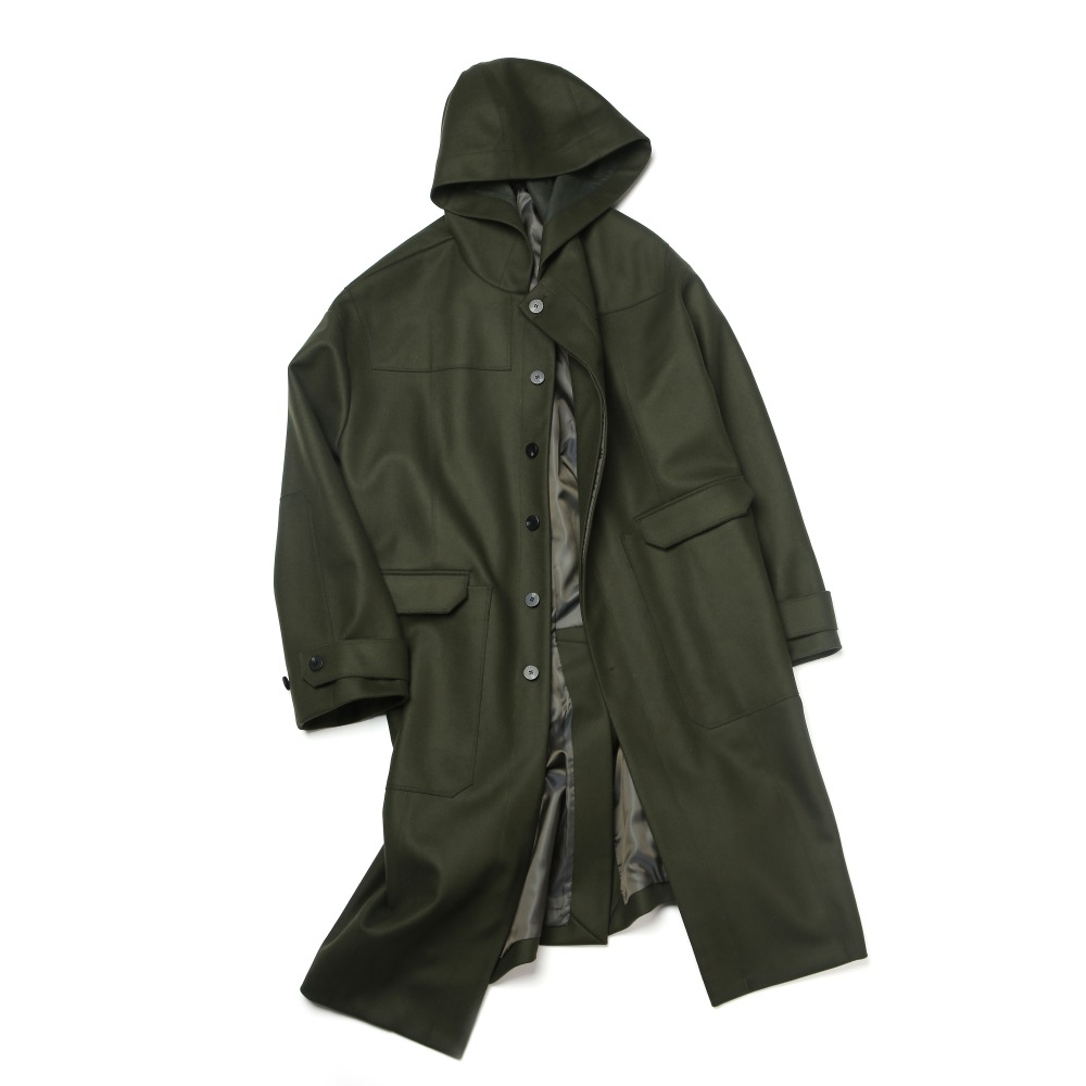 olive drab oversized single hood coat
