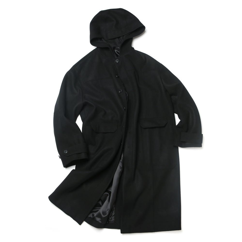 black oversized single hood coat