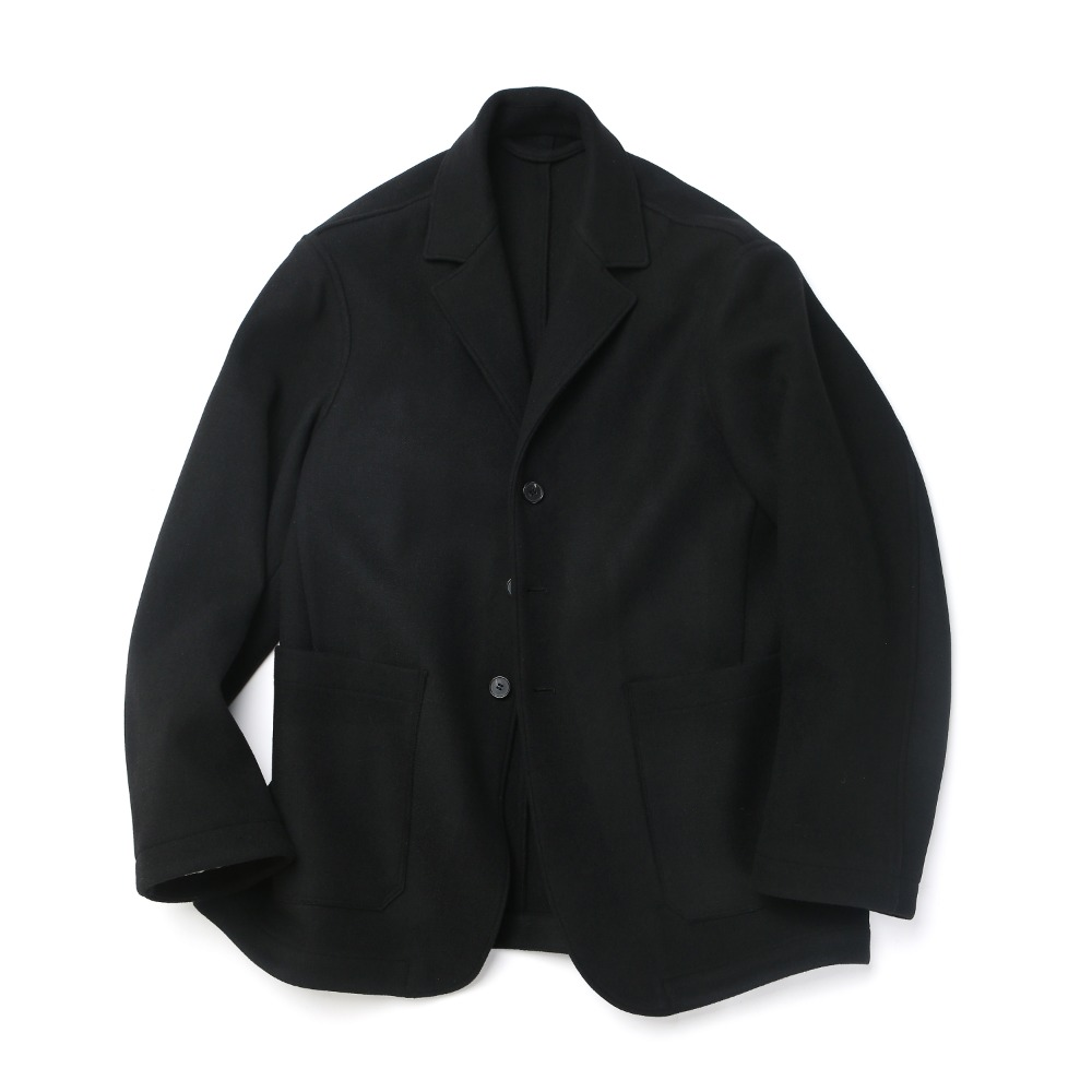 Black Melton Wool Sports Jacket