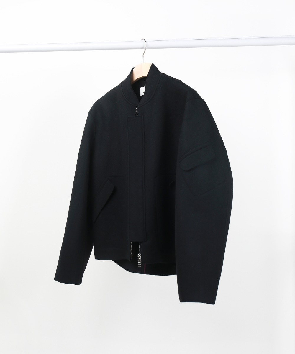 Black Cut-Out Pocket Melton Wool Blouson 01