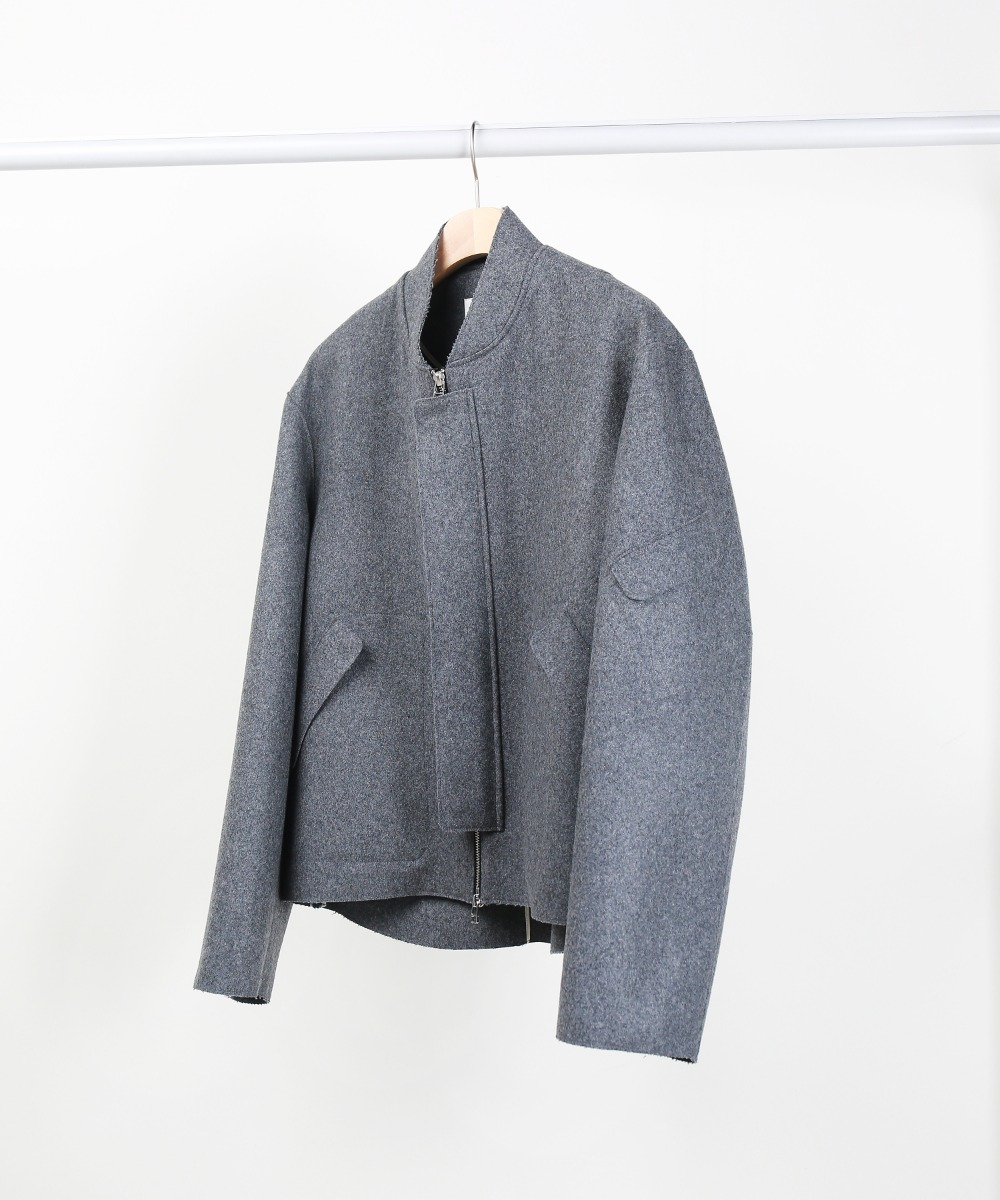 Melange Grey Cut-Out Pocket Melton Wool Blouson 01