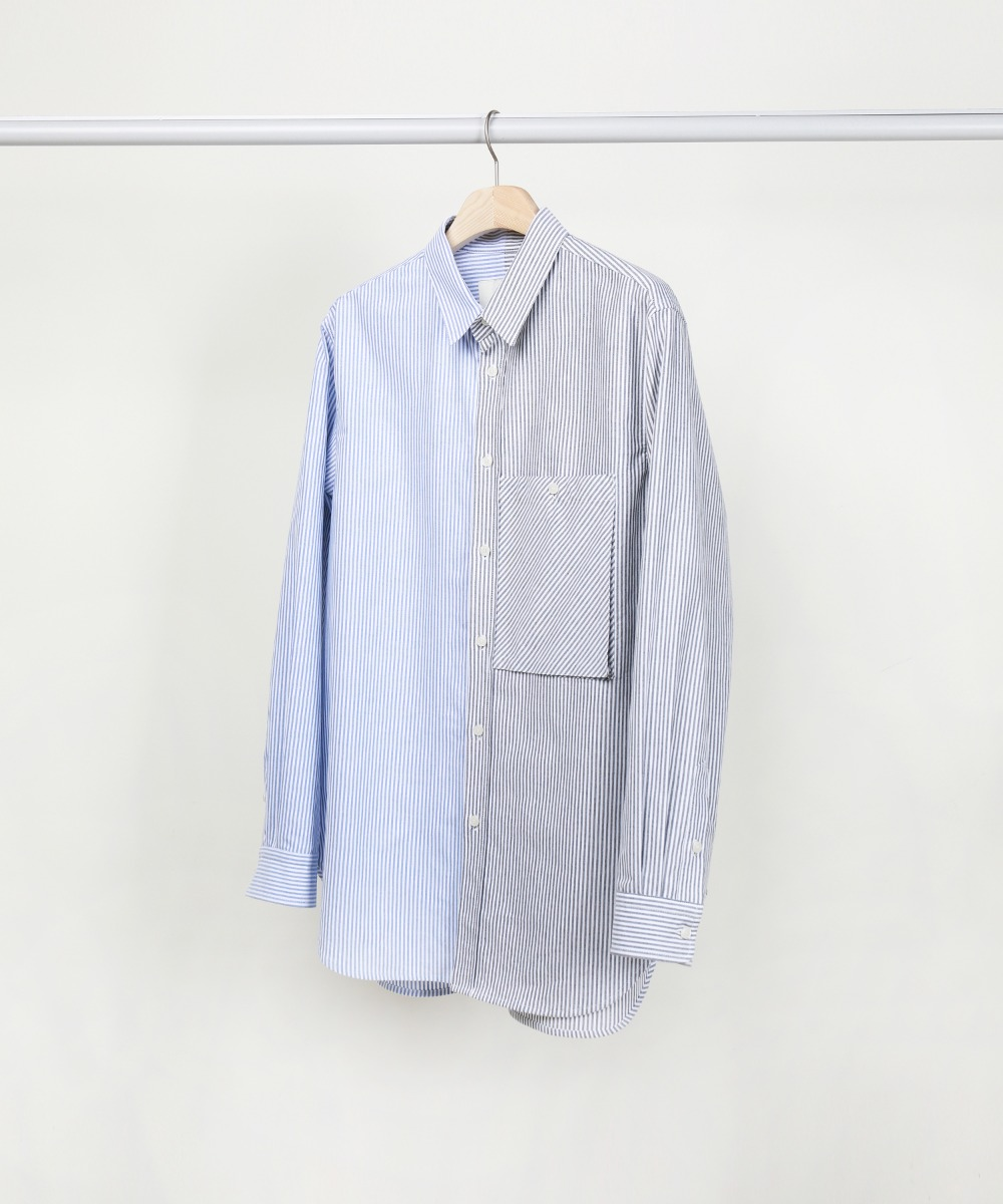 Blue&Black Mixed Color Oxford Big Pocket Shirts