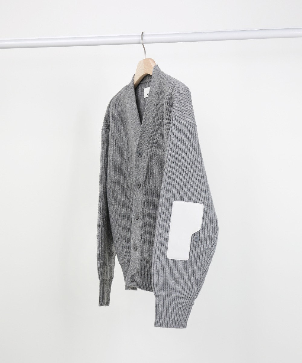 "2"" Melange Light Grey Rover Wool Cardigan 01-2"