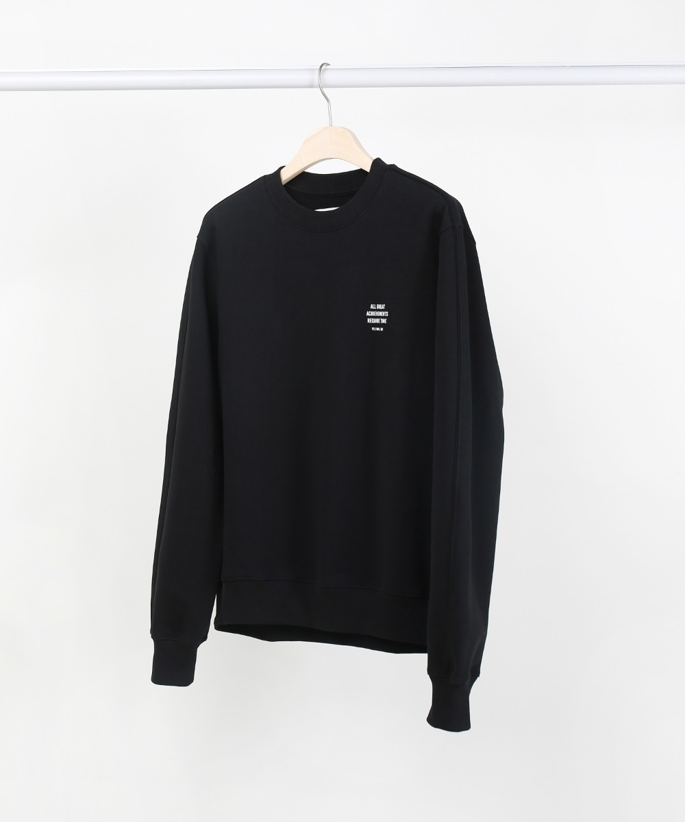 Black Slogan Piping Sweatshirts