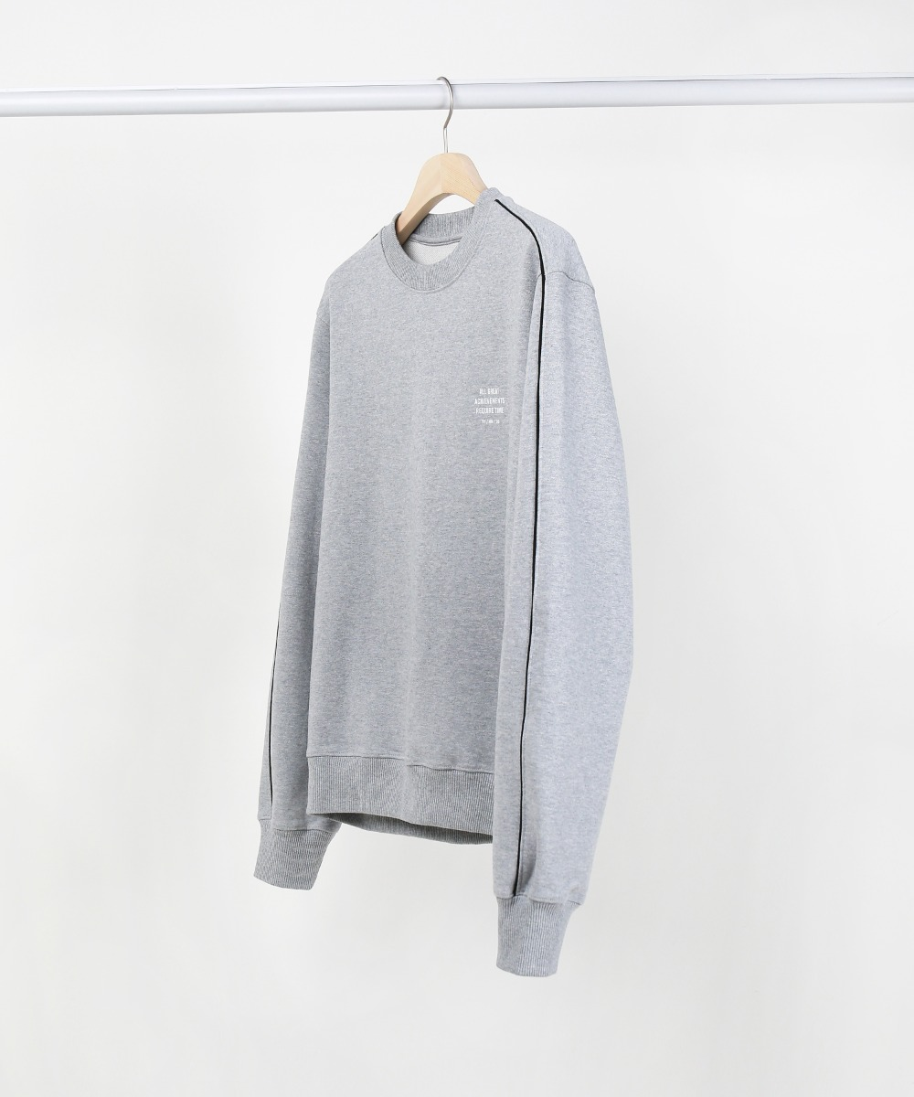 Melange Grey Slogan Piping Sweatshirts