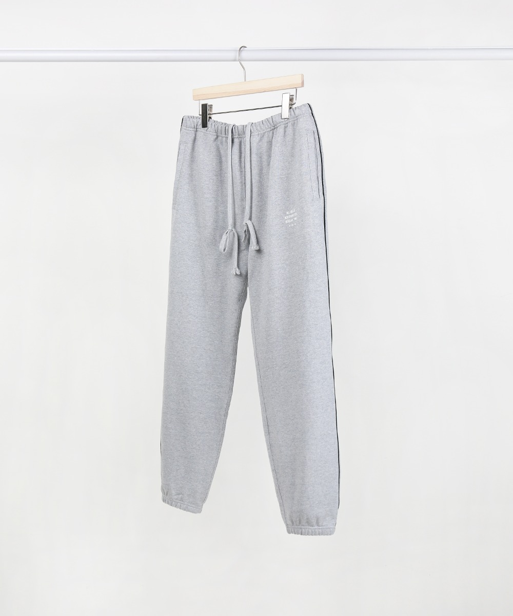 Melange Grey Slogan Piping Jogger Pants