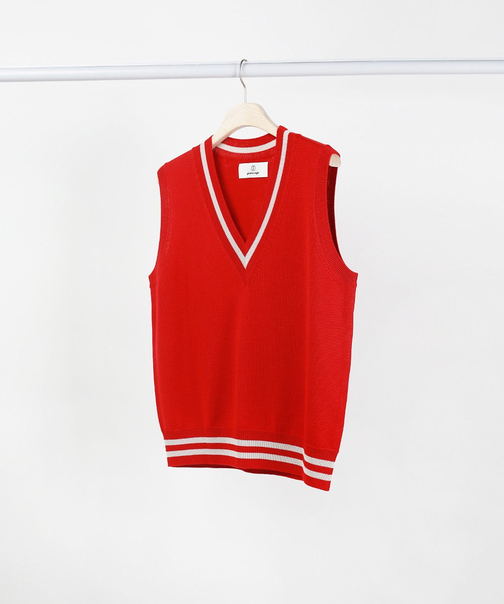 red v-neck knit vest