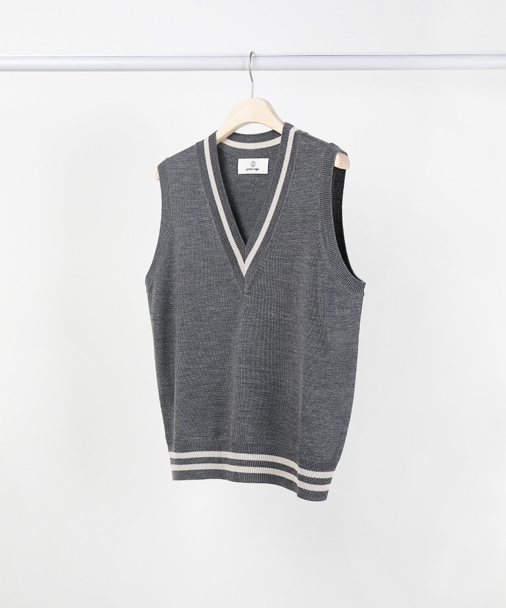 melange grey v-neck knit vest