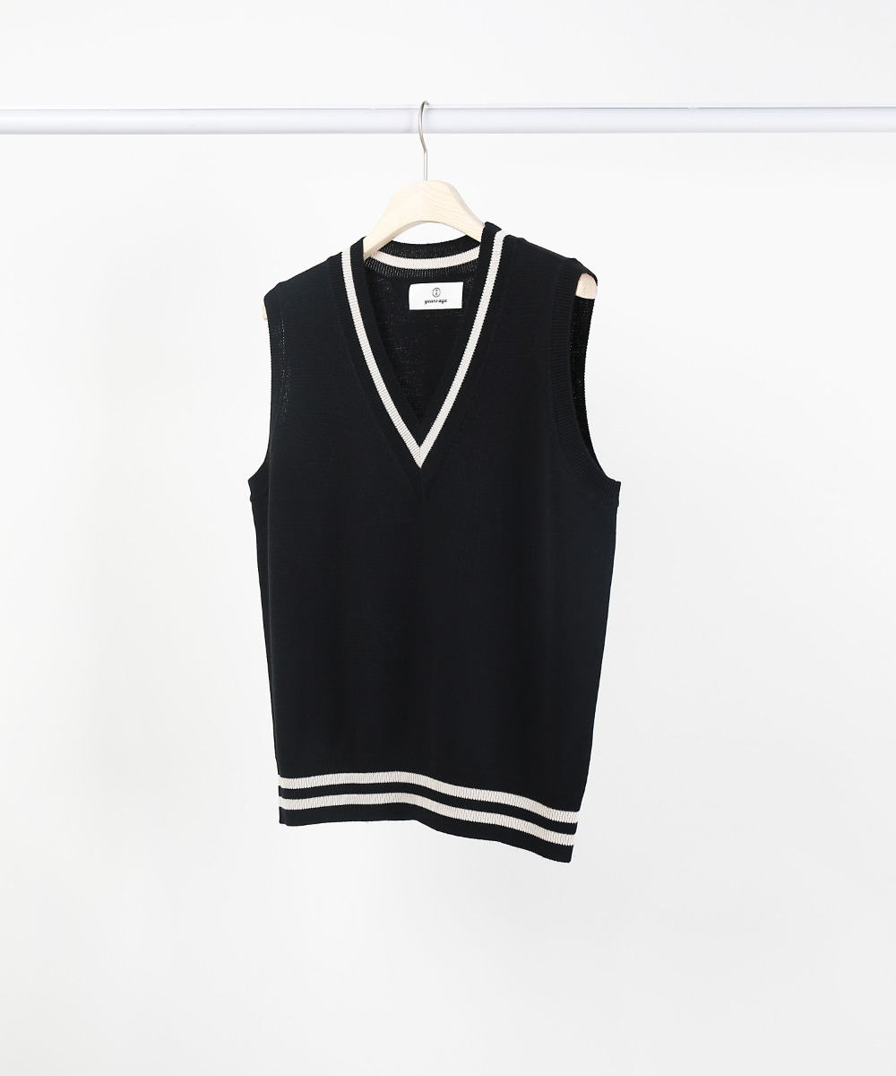 black v-neck knit vest
