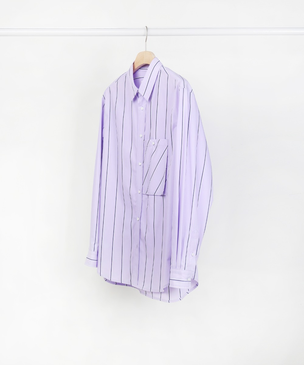 L.Purple Stripe One Pocket Shirts 01