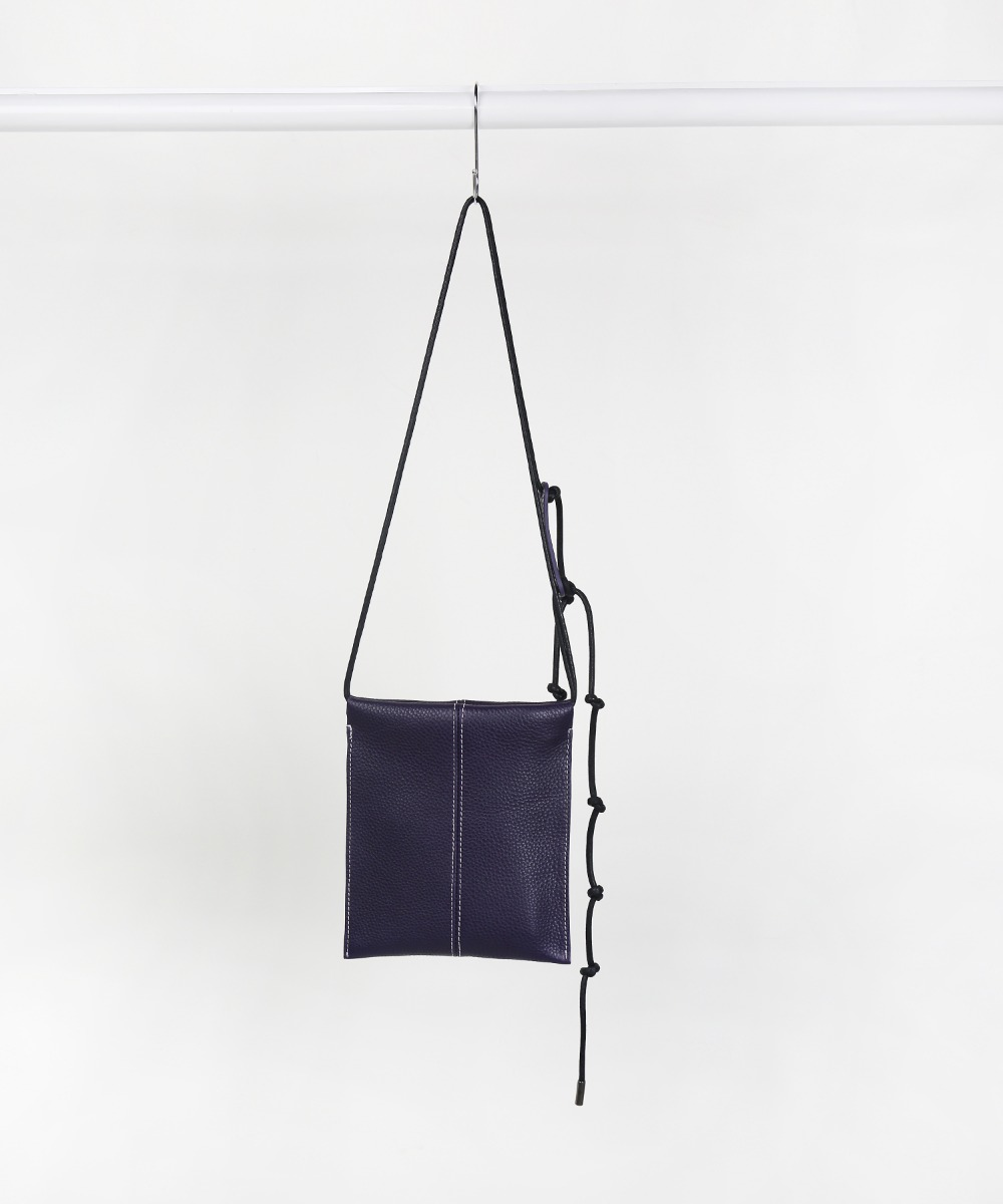 Deep Purple String Adjust Leather Sacoche Bag.01