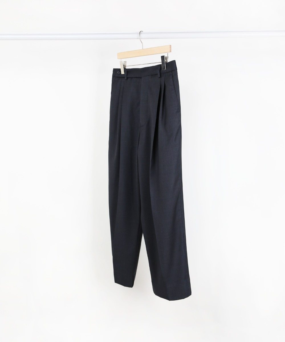 CHARCOAL TWO-TUCK WIDE PANTS