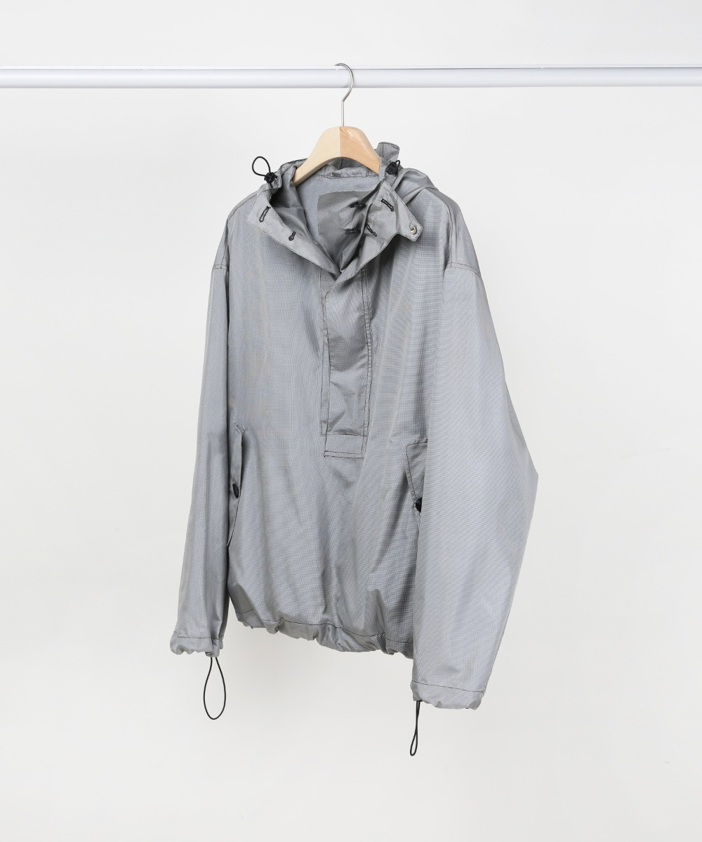 GREY HOUNDTOOTH OVERSIZED ANORAK PULLOVER JACKET.01