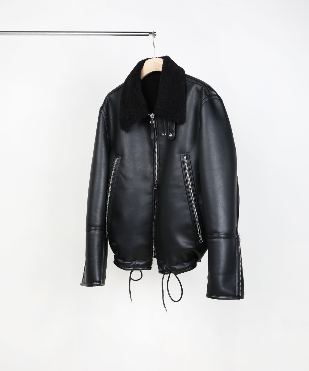 4 POCKET FAUX LEATHER MOUTON JACKET