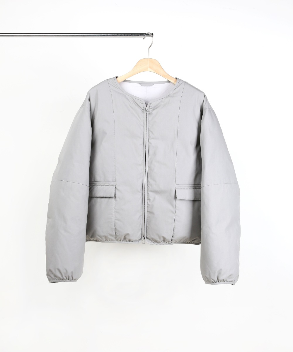 GREY SHORT PUFFER DOWN JUMPER 01
