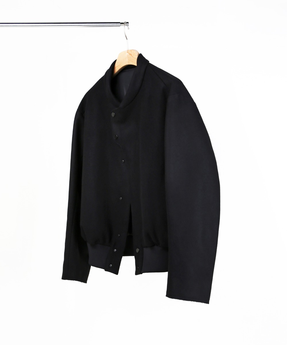 BLACK MELTON WOOL BASEBALL BLOUSON 01-2