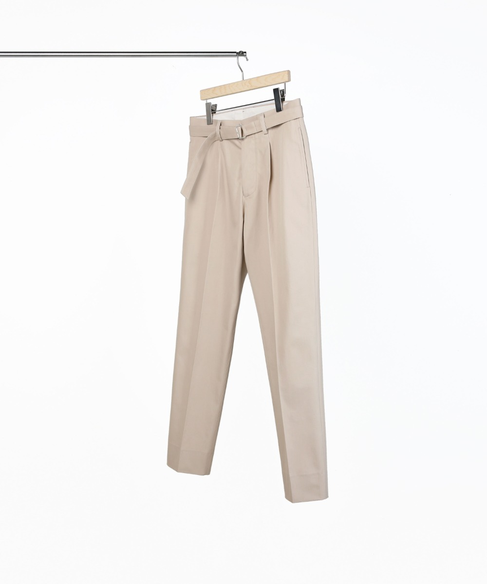 BEIGE COTTON BELTED PANTS 03-2