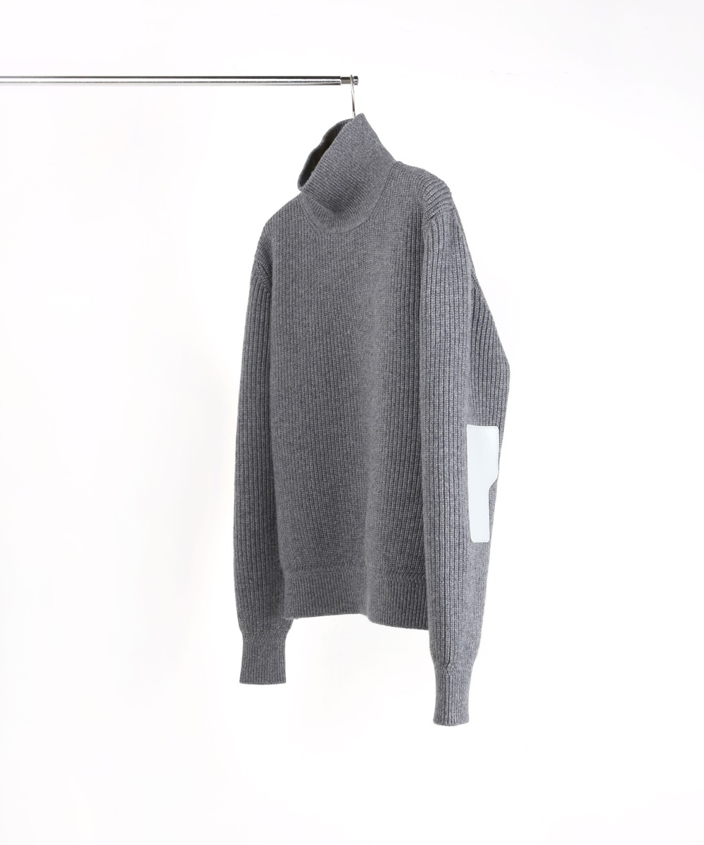 MELANGE GREY ROVER WOOL KNIT TURTLENECK